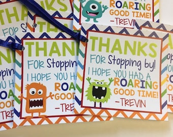 Monster Favor Tags, Boy Birthday Party, Monster Party, 1st Birthday