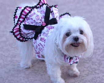 Dog Dress, Dog Harness Dress, Dog Fashion for Small Dog, Summer Dress for Dogs, Ruffle Dress, Handmade, Custom Dog Dress, Candy, Pink