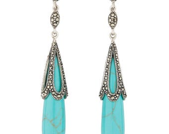 Ada Drop Earrings | Turquoise, Marcasite and Sterling Silver