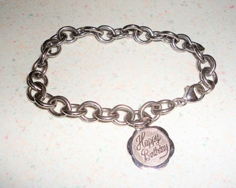 "Sterling Bracelet Happy Birthday Charm Silver Vintage Birthday Gift 7.75"" 20 Grams"