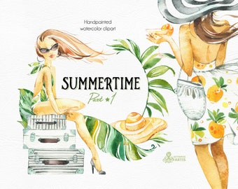 Summertime 1. Wreaths, Frames, Elements. Watercolor holiday clipart, girls, beach, travel, suitcase, floral, tropical leaves, trip, sun, fun