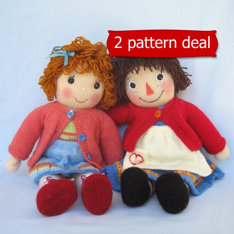 Belinda Jane and Merrily Ann Raggedy Ann doll knitting