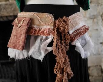 Beige& pink rose gold festival pocket belt. Gypsy, tribal, rave, bohemian hip bag, Glastonbury, Burning Man