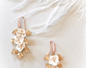 Champagne earrings, floral champagne earrings, bridesmaid earrings, bridal earrings