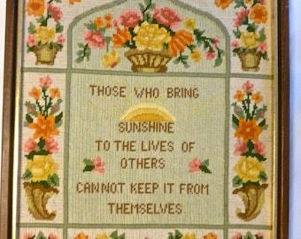 Vintage Needlepoint Picture Bucilla Sunshine Sampler 4167 Wood Framed 16x19 Handmade Saying Floral Crewel Large Roses Daisies