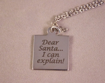 Christmas Pendant, charm, Necklace, Stocking Stuffer, Dear Santa, Christmas gift, for her, Christmas Present