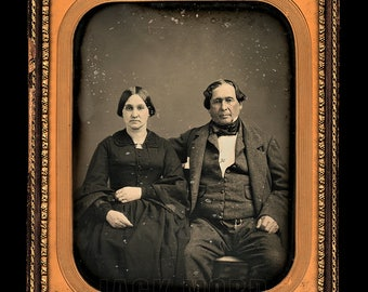 LARGE Near Whole Plate 1850s Daguerreotype Photo Hotel Owner & Wife by Gurney