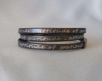 Inspirational Gunmetal Leather Wrap Bracelet