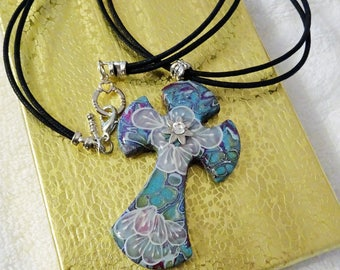 Cross Pendant on Black Cords