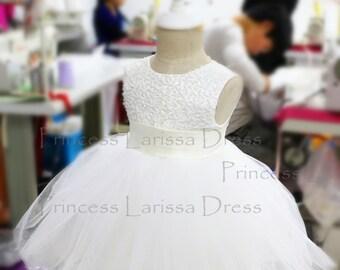 Ivory Baptism Dress, Christening Dress, Newborn Tutu, Toddler Dress for Wedding, PD079-1