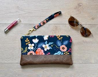 Faux leather wristlet - Rifle paper wristlet - Navy floral wristlet - phone pouch - small purse - bridesmaid gift - clutch - floral clutch