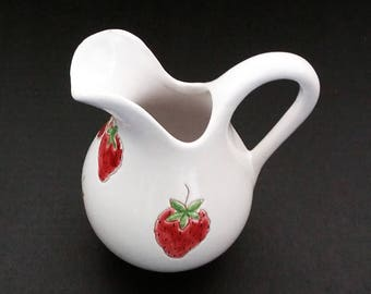 White Pitcher Milk Pitcher Ceramic Pitcher Water Pitcher Made in Italy Hand Painted Pottery Cottage Chic Decor Strawberry Design