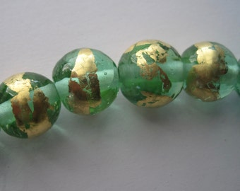 SHINY THINGS - Green & Gold  - 6 Handmade Lampwork Glass Beads - Inv129-D1