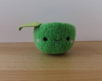 Happy Apple in Green Felted Woolen Bowl