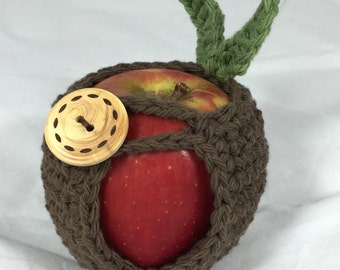 Apple Cozy Jacket Crocheted Apple Cozie in Brown Cotton Yarn