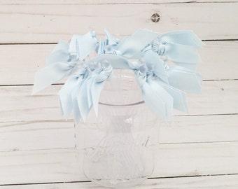 Baby Blue Grosgrain ribbon cocktail stirrers - 25 count - Clear drink stir sticks