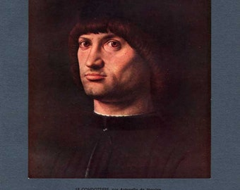 Le condottiere par Antonello de Messine / The condottiere by Antonello de Messine / Vintage book plate