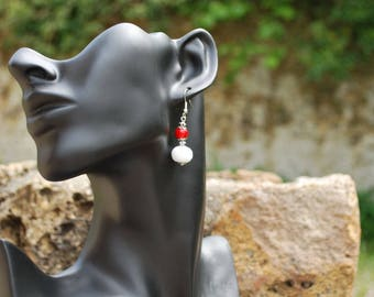"""Earrings """"Sugar candy"""" red and white."""