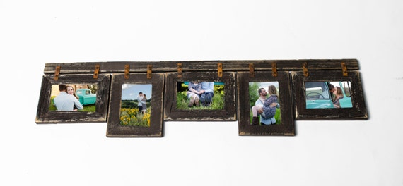 Mixed Barnwood Collage Frame 5 hole 4x6 Multi Opening Frame-Rustic ...