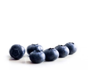 Blueberry Print, Food Photography, White, Navy Blue, Kitchen Art, Fruit Print 8x10 11x14