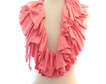 Women's Scarf in Coral Jersey Knit - Convertible Ruffle Collar - Available in 24 Colors by Mademoiselle Mermaid