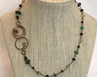 Brass, Turquoise, Prehnite, Garnet and Coral Necklace