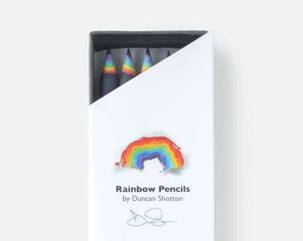 Rainbow Pencils - The SUPER 5 pack, BLACK (recycled paper pencil set for unique stationery addicts)