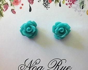 Teal Rose Resin 8mm Stud Earrings