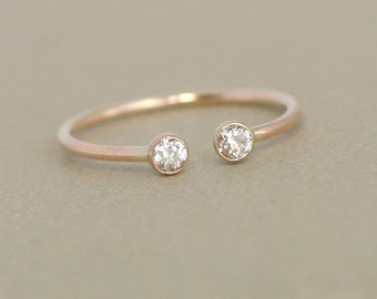 gold dual birthstone ring. unique diamond engagement ring. solid 14k GOLD. gemstone couples ring. 14k gold. wedding ring. stacking ring.