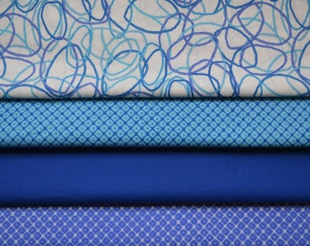 Fat Quarter Fabric Bundle, Kona Cotton, Robert Kaufman, Aqua and Royal Blue Fabric, Cotton Material, Quilting, 4 Fat Quarters, Craft Supply
