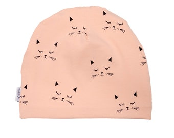 Baby beanie, pink cats