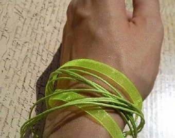 Lime Green versatile satin ribbon thong necklace to bracelet