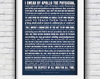 The Hippocratic Oath, Typographic poster, Hippocratic Oath Quote, Hippocrates quote, Doctor Gift, Medical Student Gift
