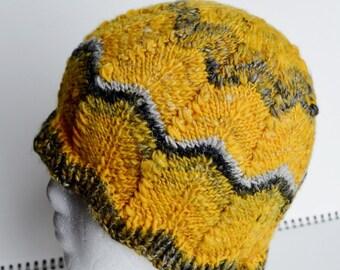 "Hand Knit Chevron Hat in Yellow, Grey, Black Handspun Luxury Blend Merino/Bamboo/Linen - One of a Kind Woolen Handknit Fits 21-22"" Head Circ"