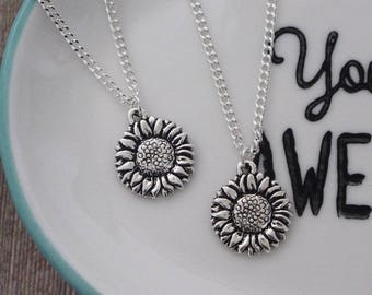 Silver Sunflower Necklace, Sunflower Charm Pendant, Flower Charm Necklace, Summer Pendant, Flower Jewellery