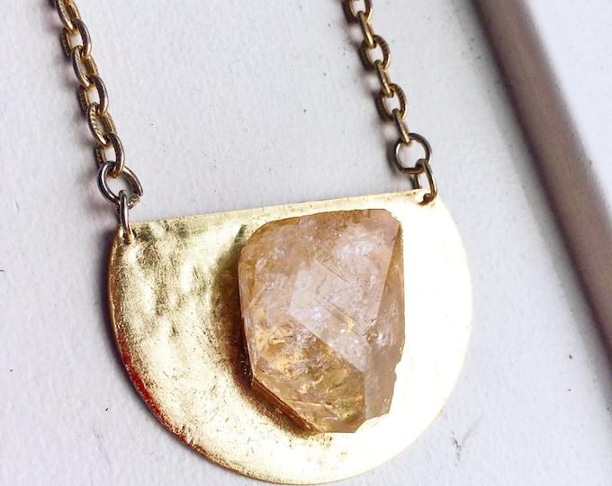 Raw Mexican Quartz Gold Medallion Necklace