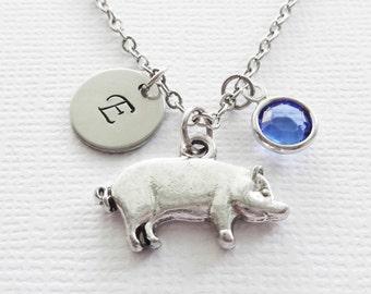 Pig Necklace Hog Piglet Farm Cute Animal Girl Gift Birthday Jewelry Swarovski Birthstone Silver Initial Personalized Monogram Hand Stamped