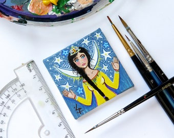 Dollhouse Miniature Painting, Small Miniature Art Painting, Original Miniature Painting, Lady of Stars, Starry Night Painting, Star Queen