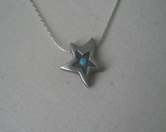 Vintage Silver Shooting Star Necklace with Turquoise Stone and Slogan DREAM