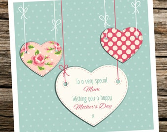 Personalised Mother's Day Card ~ Mum Grandma Step-Mum etc ~ Teal Hanging Hearts