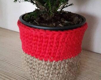 Handmade Crochet Jute Storage Basket, Small Decorative Storage, Jute Basket, Dekorative Jute Korb