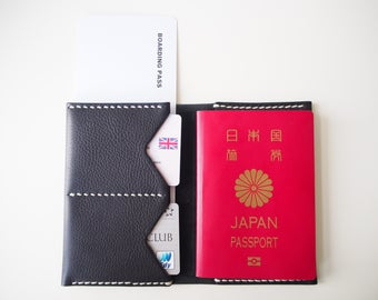 Leather Passport Holder, Leather Passport Cover, Leather Passport Sleeve, Passport Wallet - Black