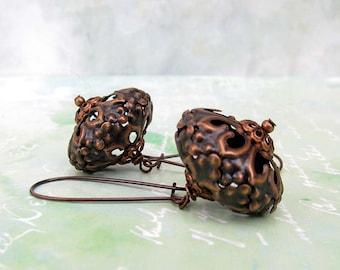 Copper earrings Moroccan Earrings Boho Bohemian Jewelry kidney ear wire.