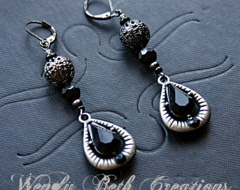Black Rhinestone Tear Drop Earrings - Steampunk, Goth, Victorian, Gunmetal, Gray, Filigree, Fashion, Belly Dance, Evening