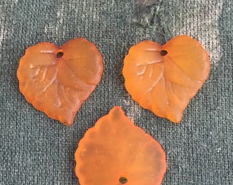 12 orange lucite leaf charms, frosted lucite leaves, delicate leaf charms, DIY leaf earrings, orange leaf bead, Lightweight autumn leaves