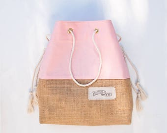 Pink Beach Bag Jute Burlap Tote The Sandbag in Rose