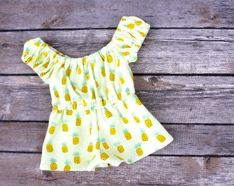 Fits like American Girl Doll Clothes - Pineapples Off the Shoulder Romper | 18 Inch Doll Clothes