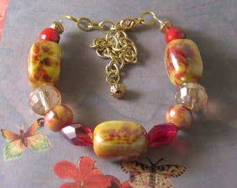 Yellow with Pink Big Beaded Bracelet