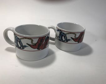 Sakura Laredo 1993 Coffee Cups Set of Two Western Theme Cowboy Boots Rope