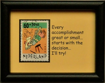 Saxophone Nederland Music -Handmade Framed Postage Stamp Art 0255W